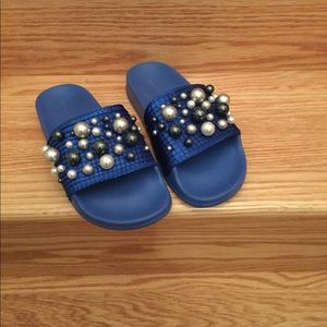 NEW! ZARA Slides With Pearly Bejeweled Detailing